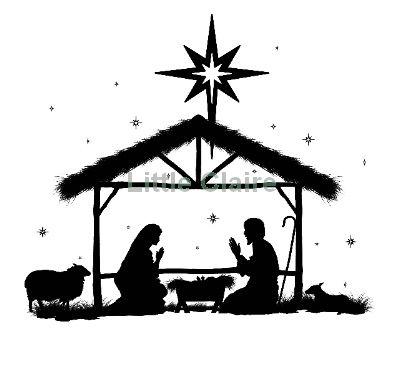 400x366 Away In A Manger Silhouette Clip Art Christmas Nativity