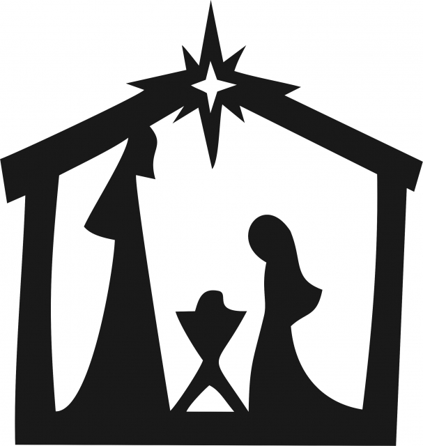 607x640 Nativity Scene Silhouette Laser Cut
