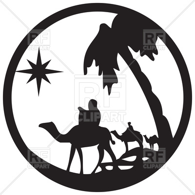 400x400 Silhouette Of Camel Caravan, Scene Of The Holy Bible Royalty Free