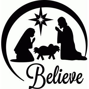 300x300 Nativity Scene Vinyl Decal Oh Holy Night