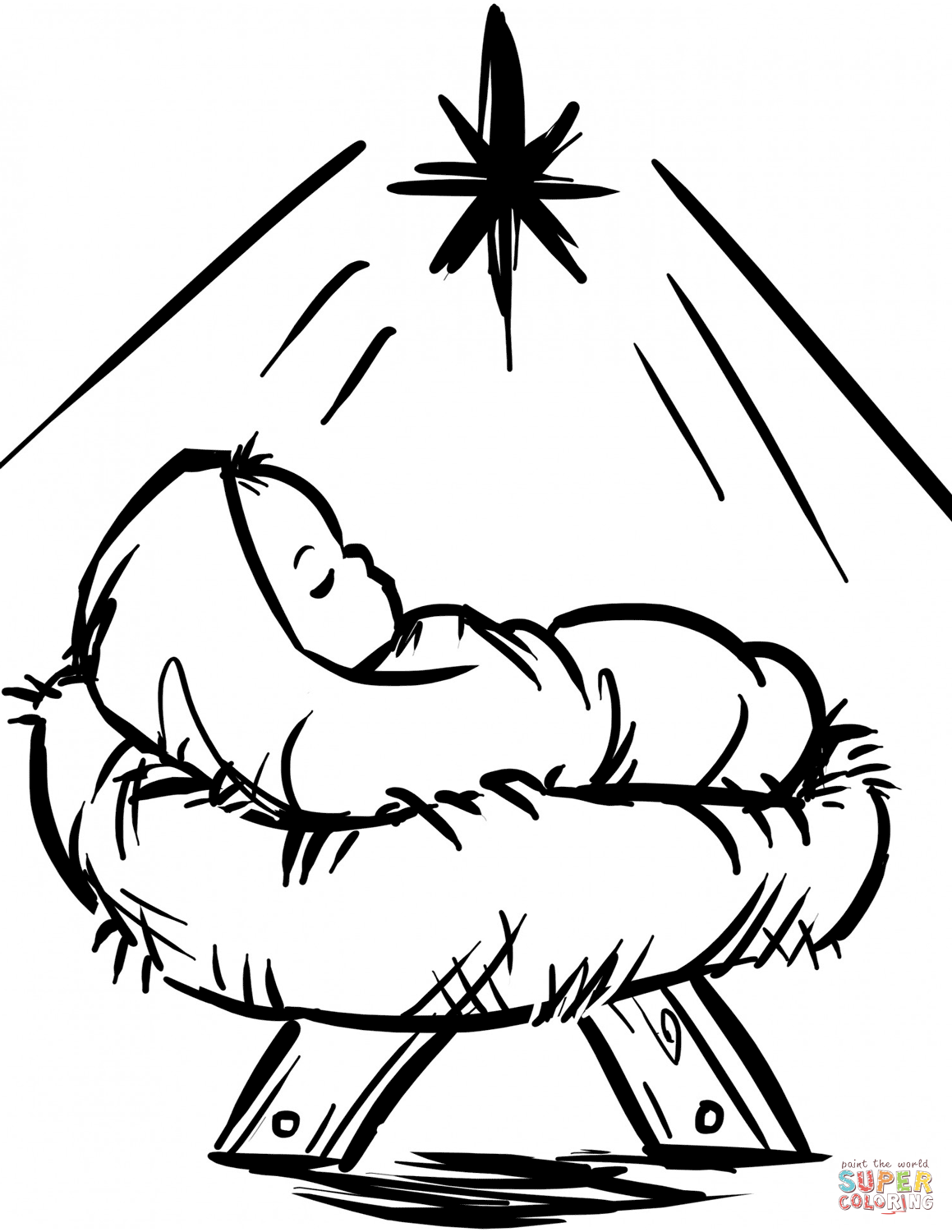 1159x1500 Baby Jesus Manger Scene Coloring Page Free Printable Pages