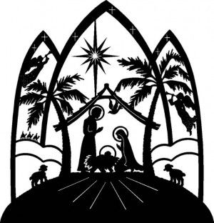 300x312 Free printable nativity silhouette patterns Silhouette Nativity