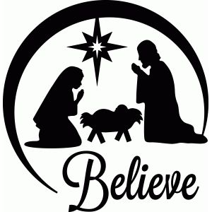 300x300 Nativity Scene Vinyl Decal Oh Holy Night