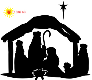 324x281 Manger Scene Silhouette W Star Xmas Silhouettes