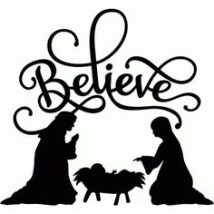 236x236 Believe Nativity Flourish Silhouette Design, Flourish