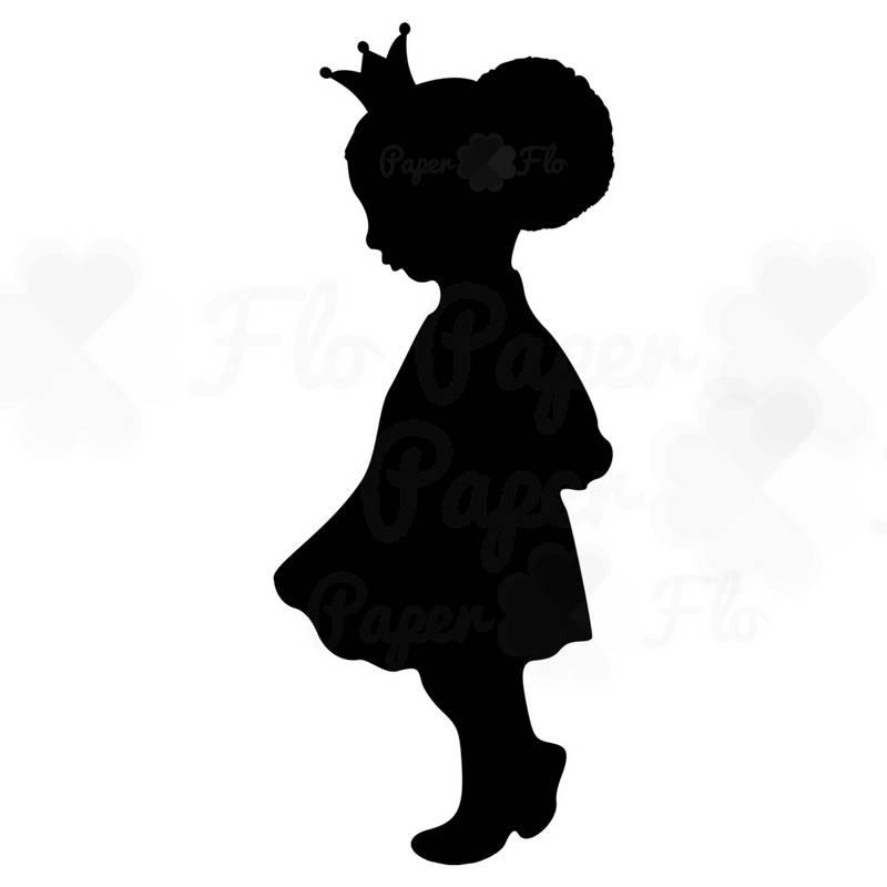 800x800 Black princess silhouette girl afro puff SVG girl princess party