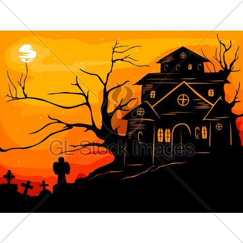 500x500 Haunted House Silhouette Clipart Panda