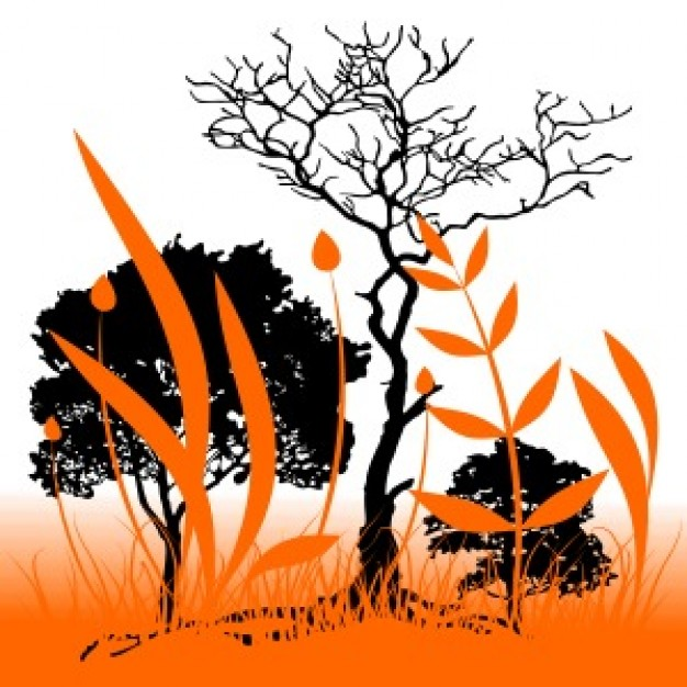 626x626 Orange Abstract Silhouette Nature Background Vector Free Download