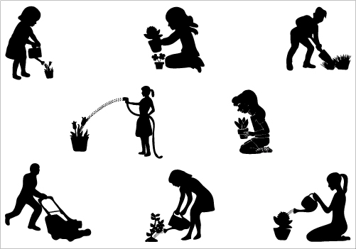 501x351 Gardening Silhouette Vector Download Gardening Vectors Nature