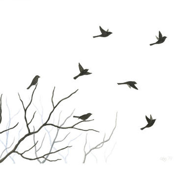 354x354 Original Watercolor Bird Painting, Flying Birds And Tree Branch