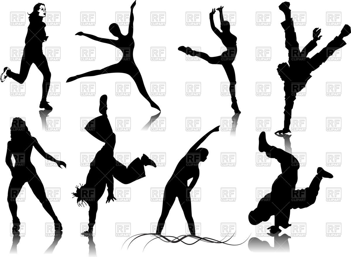 1200x877 Silhouettes Of Sport Or Dancing Women And Men Royalty Free Vector