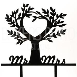 300x300 Black Mr Amp Mrs Love Tree Nature Acrylic Wedding Day Cake Topper