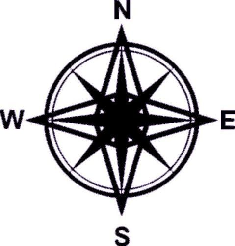 479x500 Huge Compass Vinyl Wall Room Nautical Map Decal N S 368 Baby