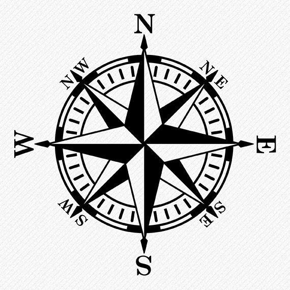 570x570 Compass Rose Svg, Compass Rose Silhouette, Compass Clipart