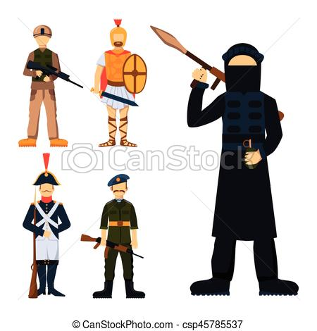 450x470 Military Soldier Character Weapon Symbols Armor Man Vectors
