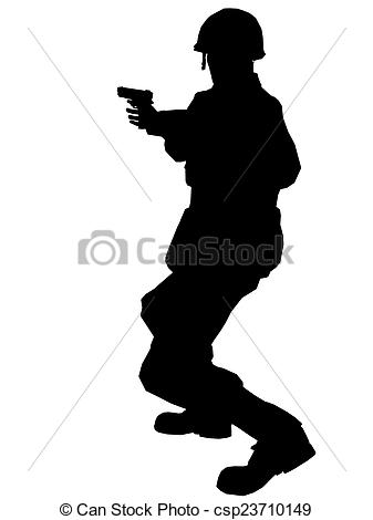 337x470 Soldier Silhouette With Gun Made In 3d Software Stock Photo