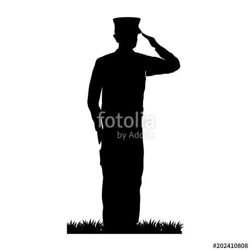 500x500 Silhouette Of Military Saluting Vector Illustration Design Stock
