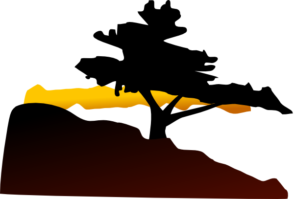 600x407 Mountain Range With Tree Clipart Silhouette