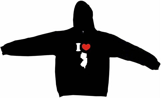 679x416 I Heart Love New Jersey Silhouette Men's Hoodie Sweat