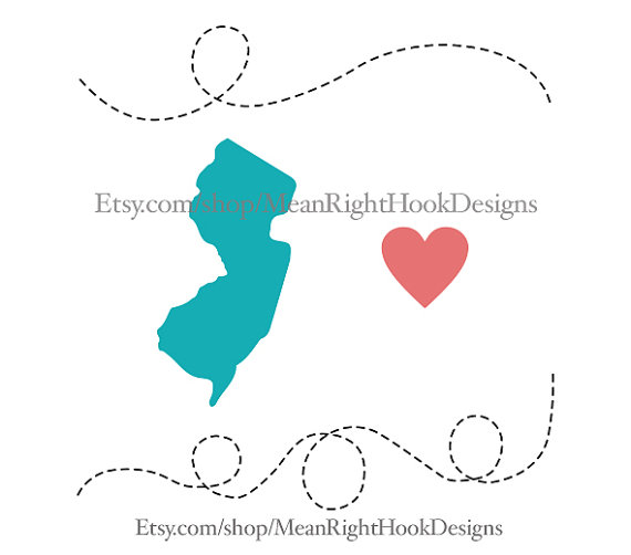 570x502 New Jersey Svg, State Svg, Silhouette, Heart Svg, And Dotted Lines
