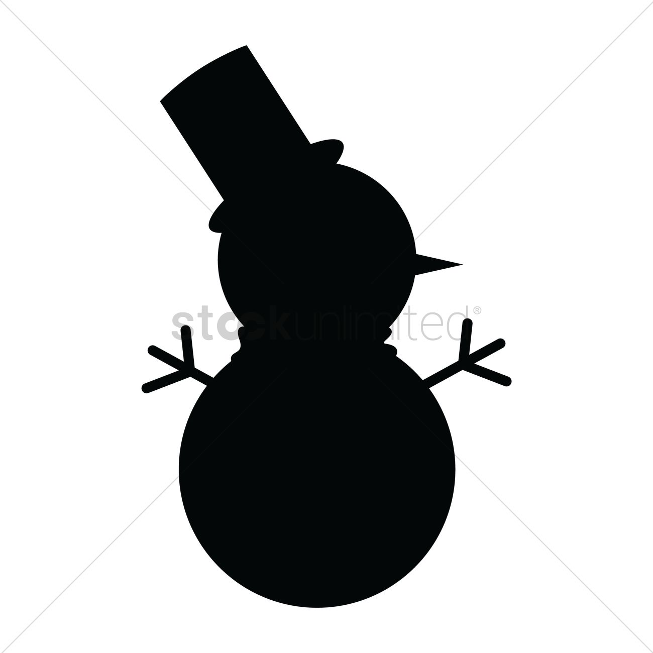1300x1300 Silhouette Of Snowman Vector Image