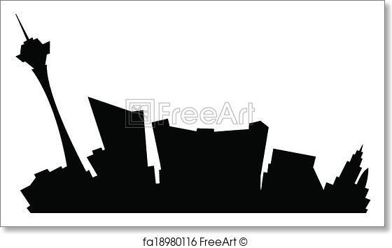 560x355 Free Art Print Cartoon Las Vegas. Cartoon Skyline Silhouette