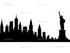 236x177 New York City Skyline Silhouette Vinyl Wall Art Sticker Outline