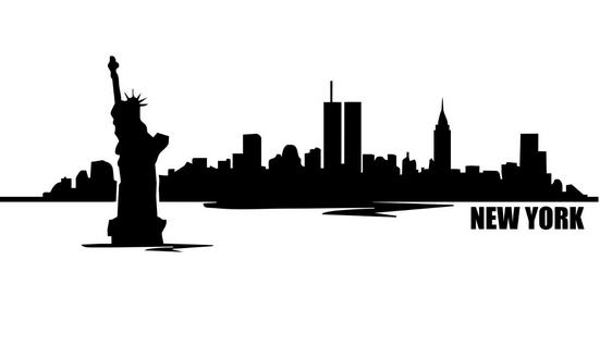 551x318 New Arrival New York City Skyline Vinyl Wall Decal City Design