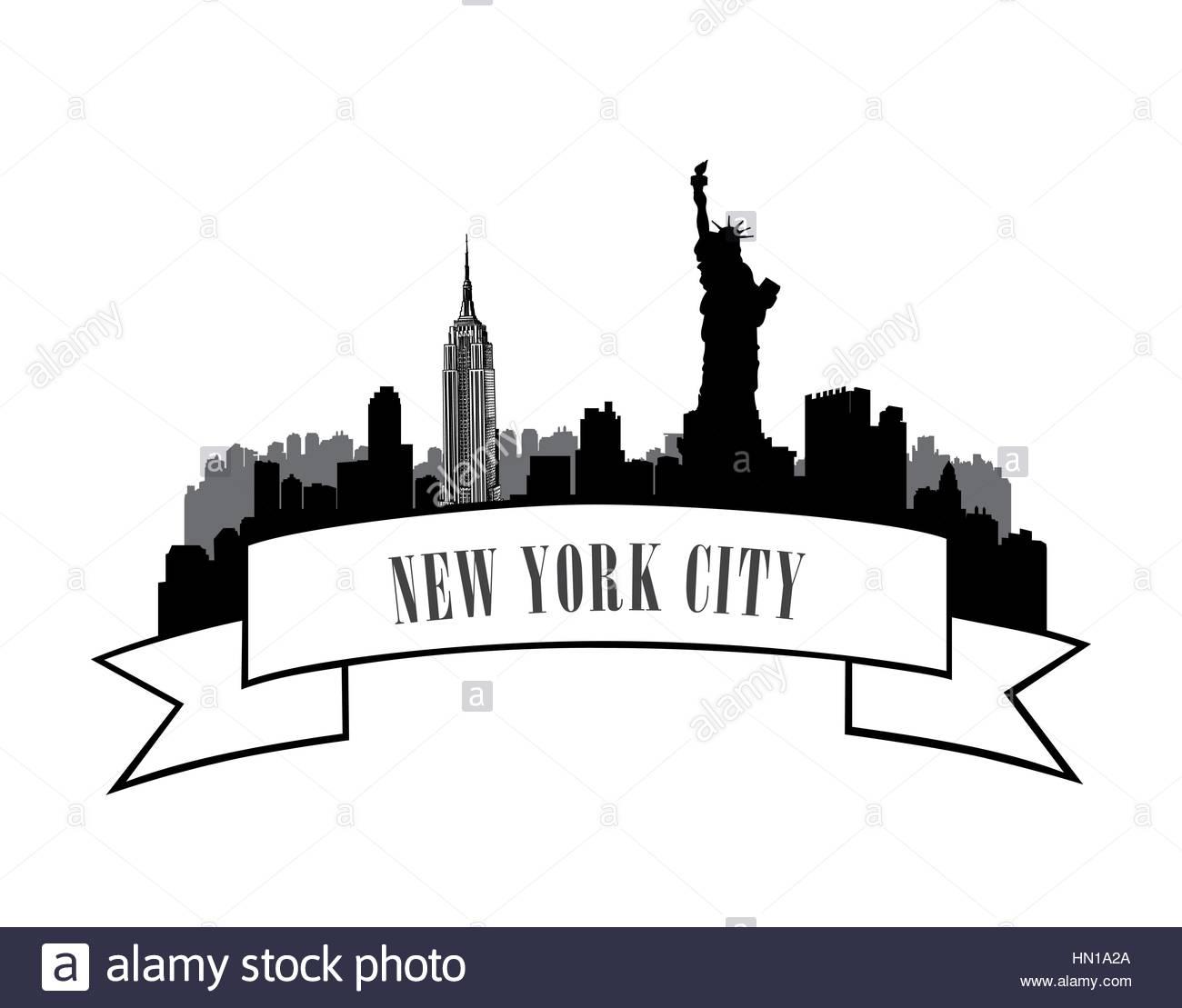 1300x1109 New York, Usa Skyline Sketch. Nyc City Silhouette With Liberty