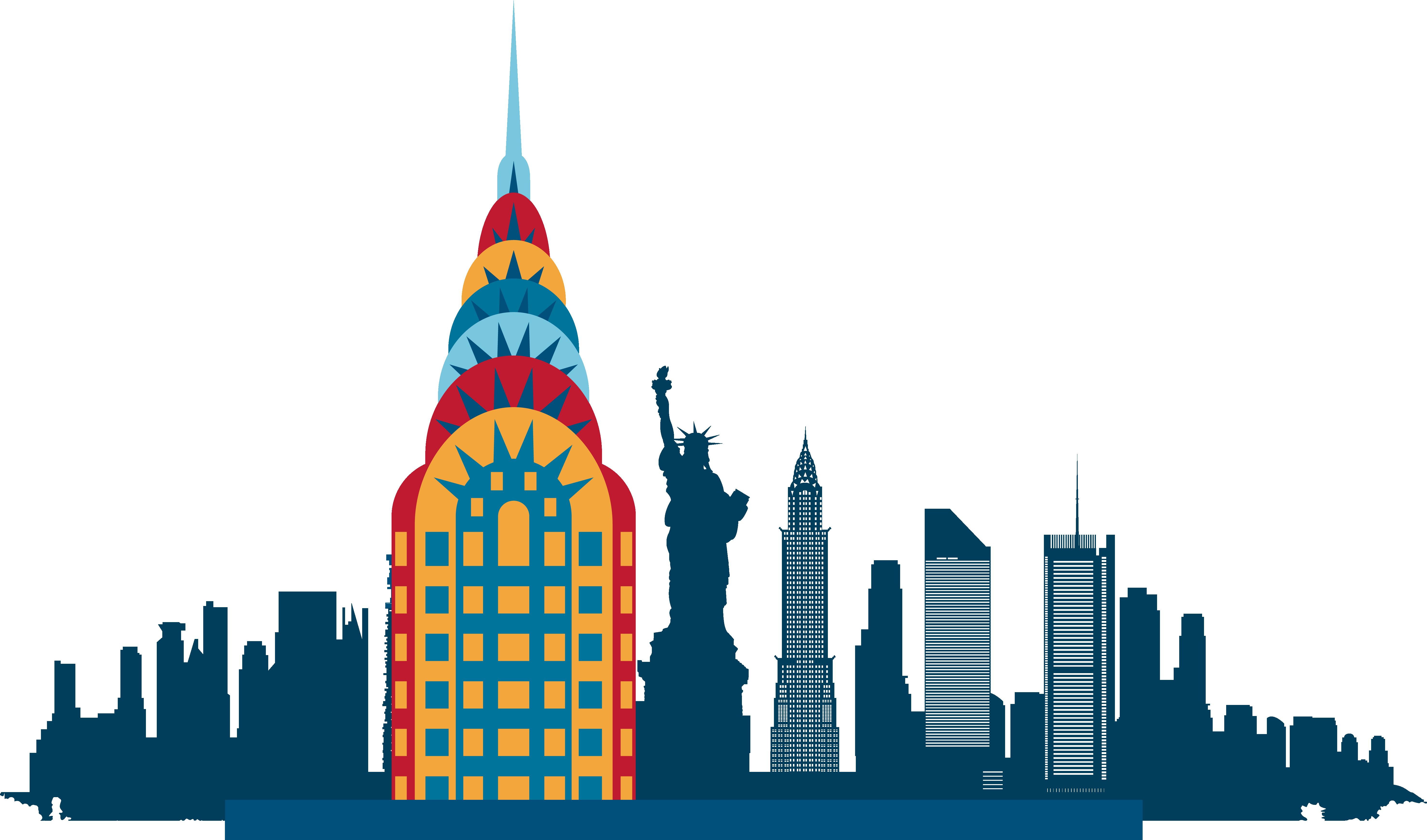 5926x3489 New York City Skyline Silhouette Illustration