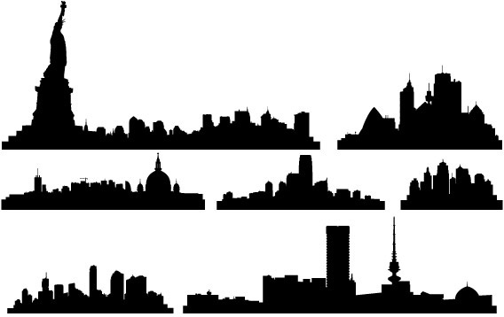568x358 New York City Skyline Silhouette Free Vector Download (10,385 Free