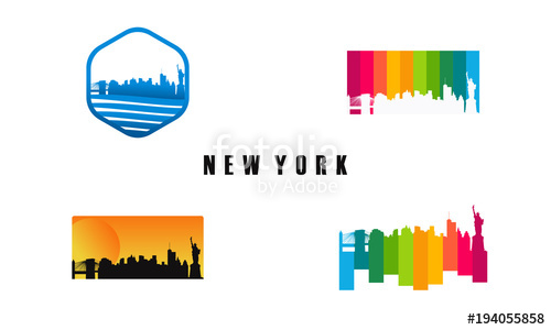 500x300 Set Of New York City Sihouette Template, Set Of American City