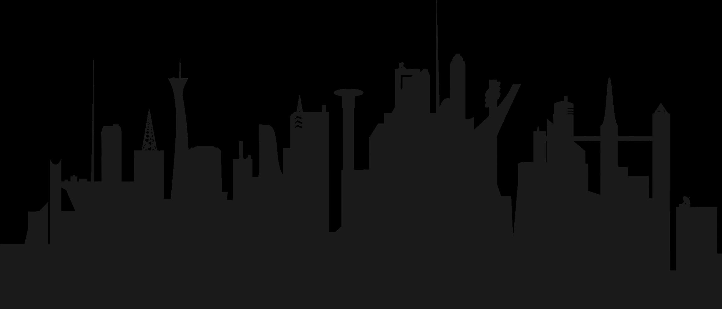 2305x986 Futuristic City Skyline Icons Png