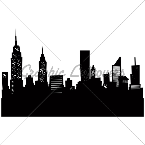 New York City Skyline Silhouette Clip Art