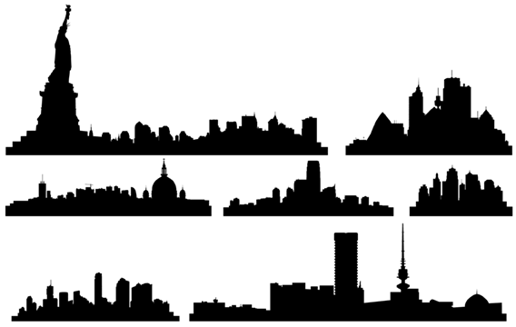 568x360 Free Vector City Skylines Vector, Free Vector Graphics