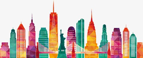 477x195 New York City Silhouette Colour, Sketch, New York, Color City Png