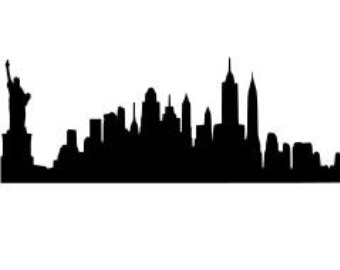 340x270 New York City Skyline Detailed Silhouette Vector Art. Pin Statue