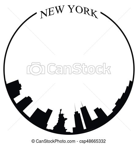 450x470 Isolated New York City Skyline On A White Background, Vector
