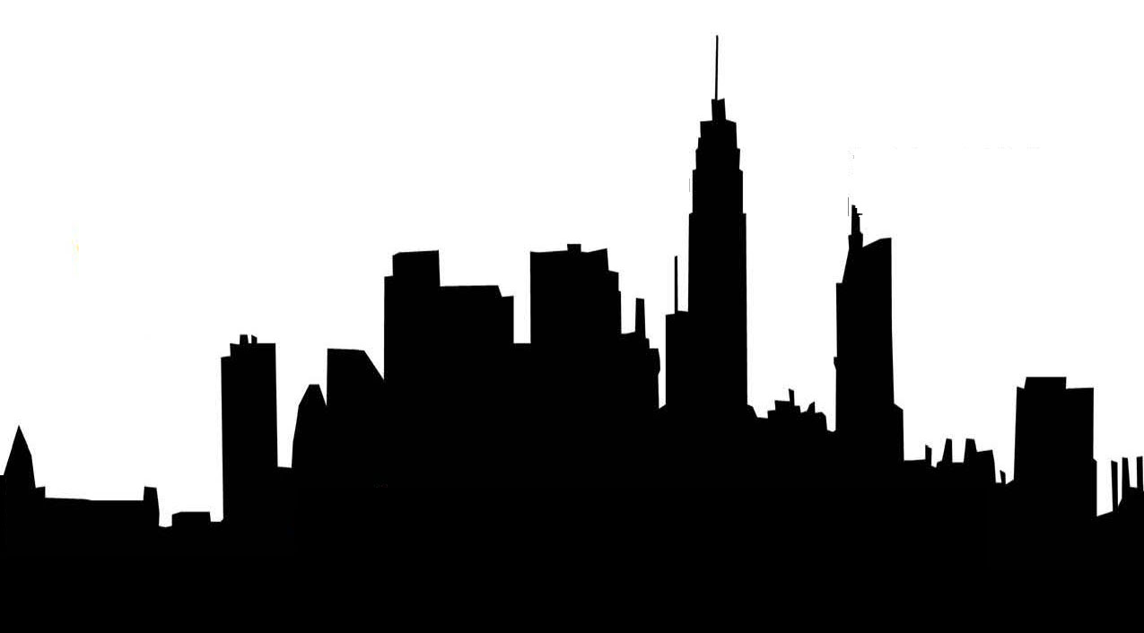 New York Skyline Black And White Silhouette