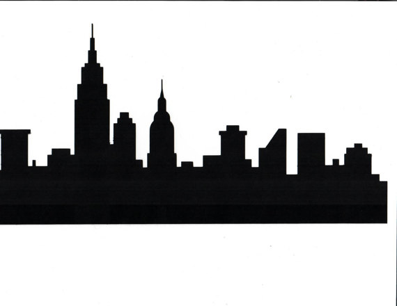 New York Skyline Black And White Silhouette At Getdrawings