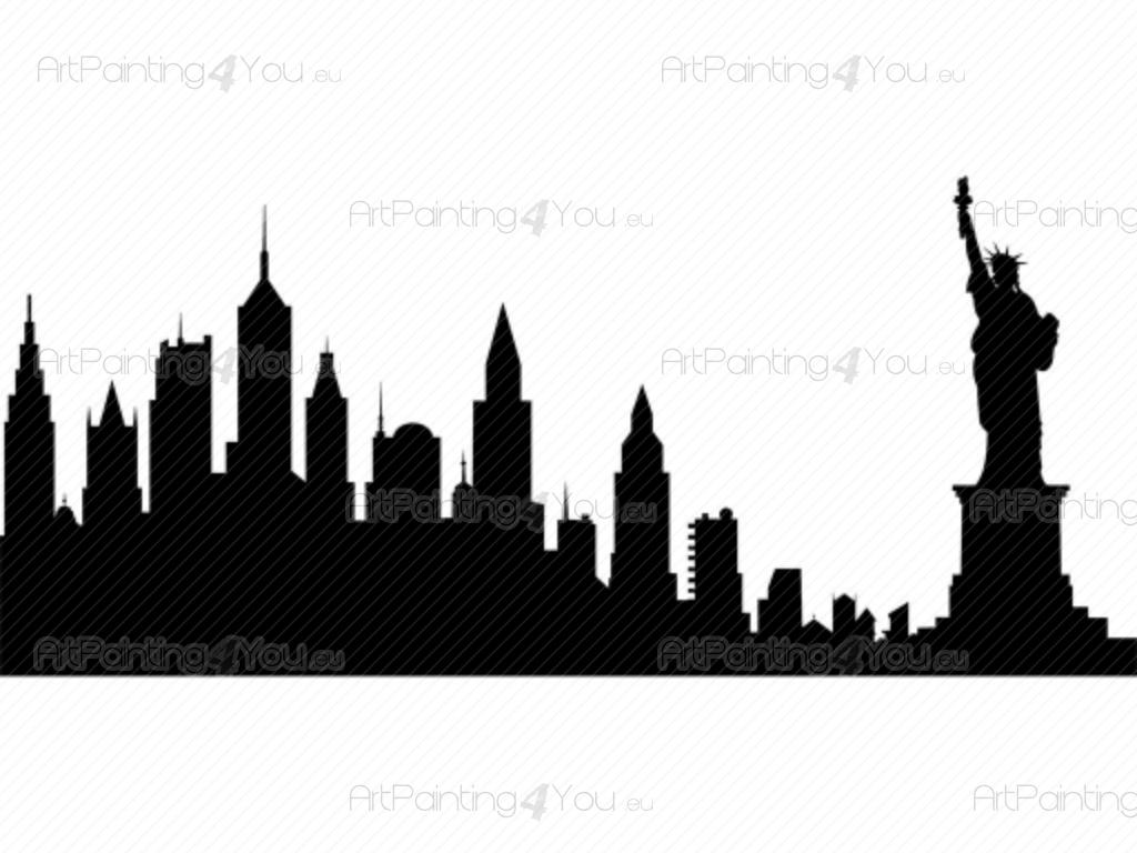 1024x768 Wall Decals New York Skyline (Vdv1013en)