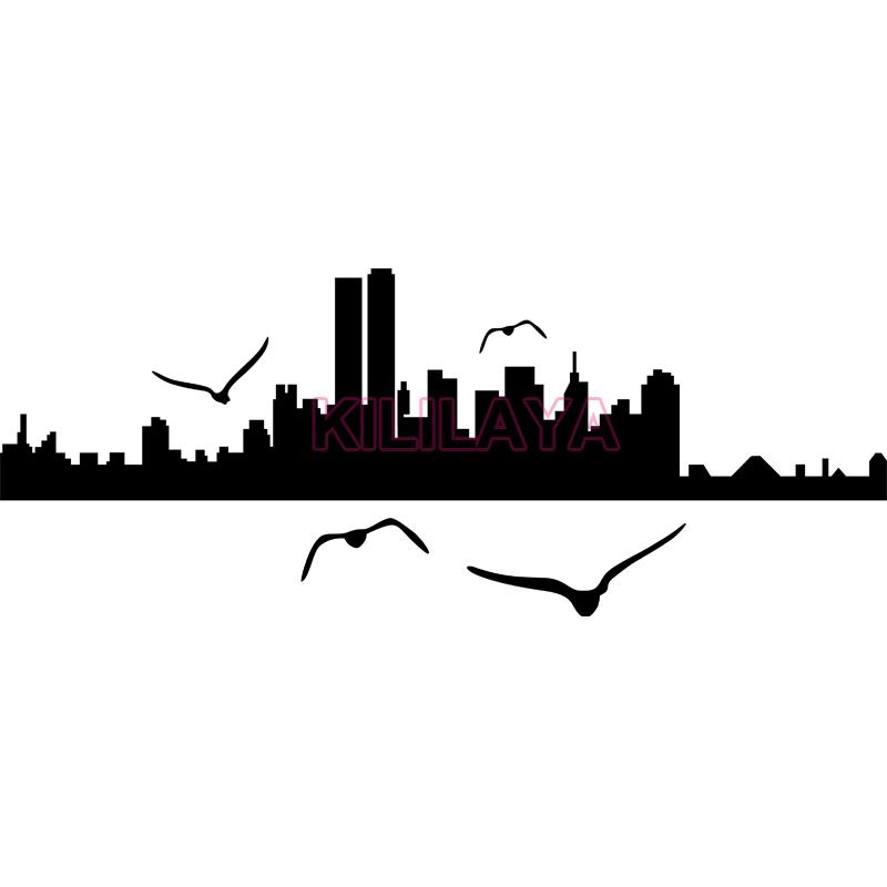 800x800 Black Wall Stickers New York City Seagull Silhouette Vinyl Wall