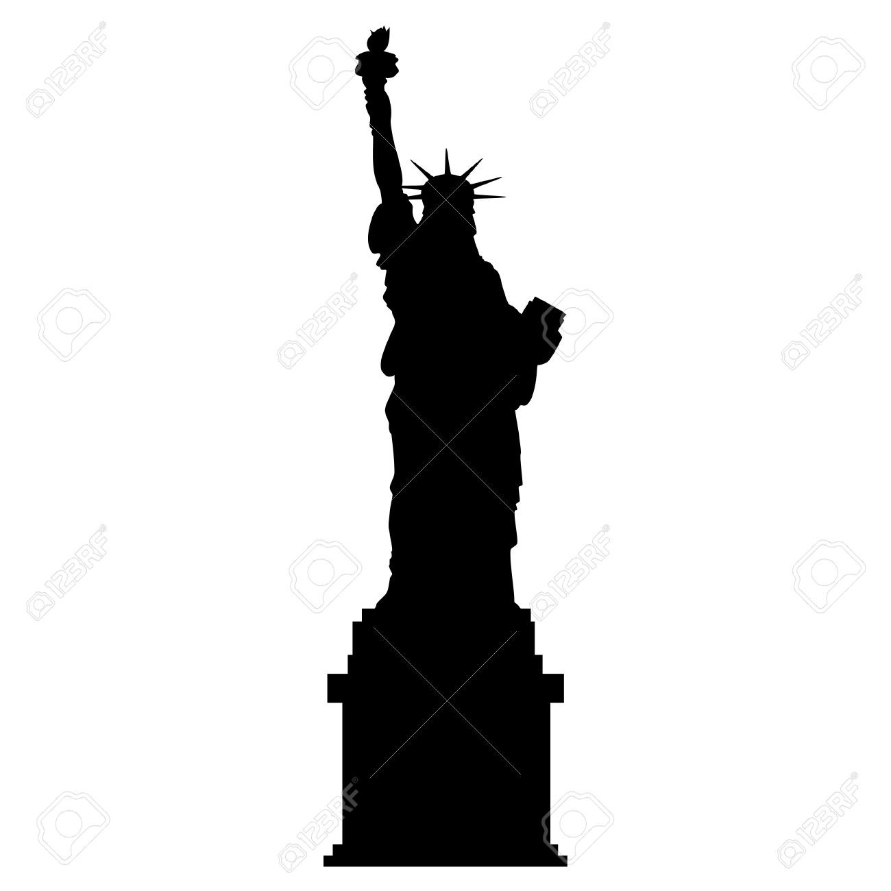 1300x1300 Blue Silhouette Of Statue Liberty And New York Skyline Vector Art