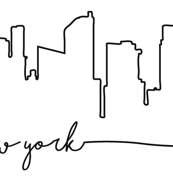 570x588 New York Skyline Outline Together With New Skyline Royalty Free