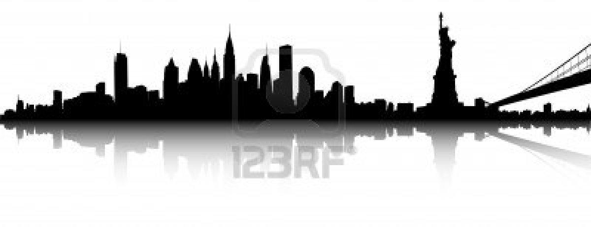 1200x462 Vector Deel Van De Skyline Van New York Stockfoto Church City