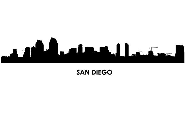 645x395 San Diego Skyline Vector Free
