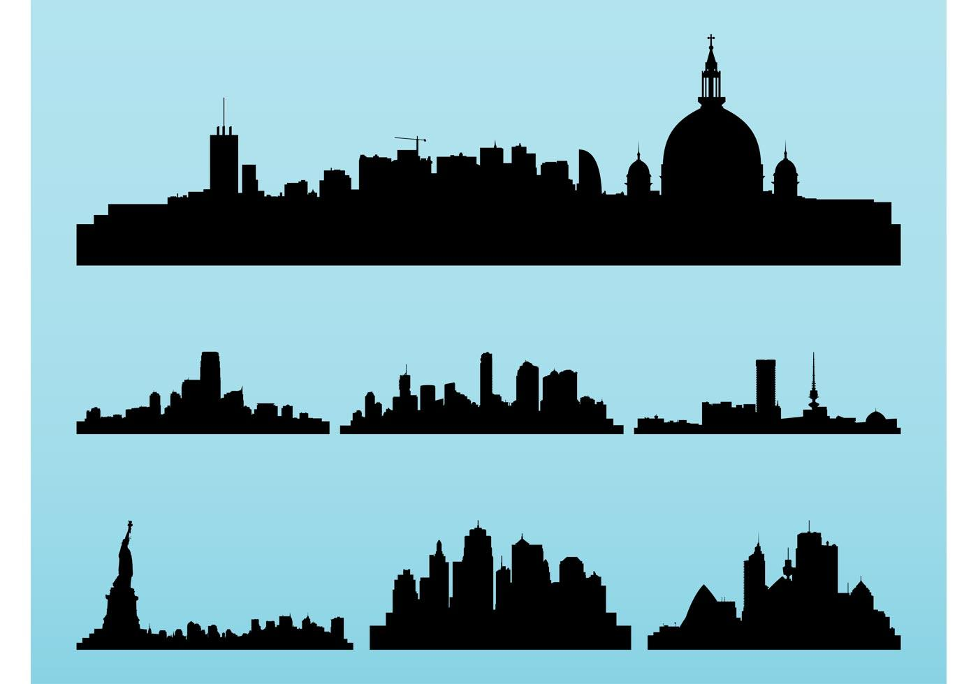 1400x980 New York Skyline Silhouette Free Vector Silhouettes