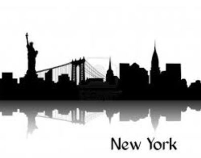 New York Skyline Silhouette Painting