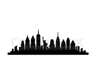 320x280 New York Usa City Skyline Silhouette Vector Illustration Stock
