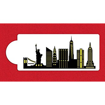 350x350 New York City Detailed Skyline Cake Stencil Side C1000